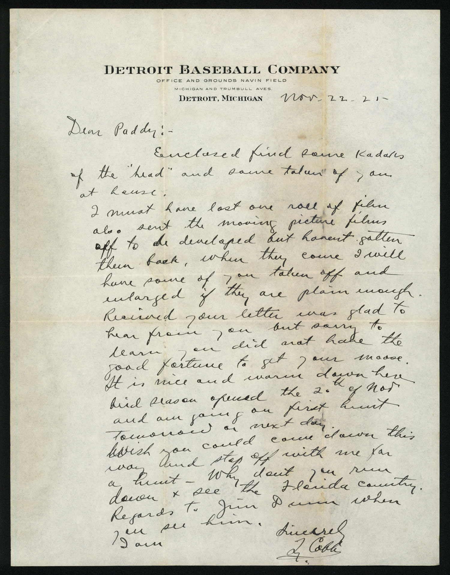1925 ty cobb handwritten and signed letter psa dna ebay With ty cobb letter
